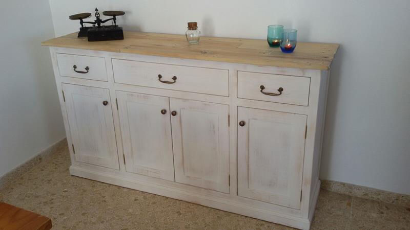 Conjunto de mueble comedor y mueble tv madera pino efecto for Mueble tv vintage
